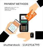 hands with smartphone ... | Shutterstock .eps vector #1141916795