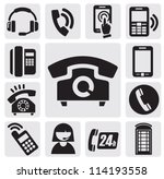 vector black phone icons set on ... | Shutterstock .eps vector #114193558