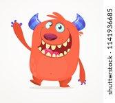 cute cartoon monster. vector... | Shutterstock .eps vector #1141936685
