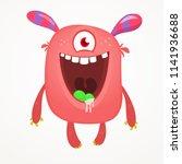 cute cartoon monster  with... | Shutterstock .eps vector #1141936688