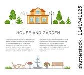 house and garden poster  banner ...   Shutterstock .eps vector #1141941125