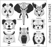 set of polygonal head animals.... | Shutterstock .eps vector #1141946825