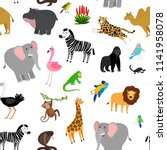 africa animals pattern. african ... | Shutterstock .eps vector #1141958078