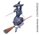 3d cg rendering of a witch... | Shutterstock . vector #1141964312