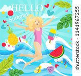 illustration hello summer with...   Shutterstock .eps vector #1141967255