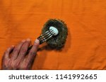 male hand with fork. nest with... | Shutterstock . vector #1141992665