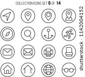 universal thin icons set for... | Shutterstock .eps vector #1142004152