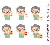 illustration of painful senior... | Shutterstock .eps vector #1142005112