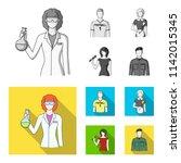 woman chemist  football player  ... | Shutterstock . vector #1142015345