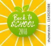 back to school appler with hand ... | Shutterstock .eps vector #1142020388