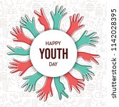 happy youth day greeting card... | Shutterstock .eps vector #1142028395