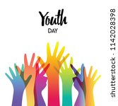 happy youth day greeting card... | Shutterstock .eps vector #1142028398