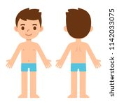 cartoon boy in underwear  front ... | Shutterstock .eps vector #1142033075
