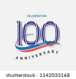 100 years anniversary ribbon... | Shutterstock .eps vector #1142033168