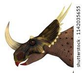 brown rubeosaurus dinosaur 3d... | Shutterstock . vector #1142035655