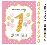 girl's birthday invitation ... | Shutterstock .eps vector #1142035862
