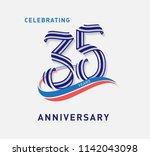 35 years anniversary ribbon... | Shutterstock .eps vector #1142043098