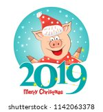 The logo, emblem, sign 2019 Pigs-a symbol of the Chinese new 2019. For posters, banners, postcards, sales and other winter events. Style of comics, cartoons. Vector illustration with happy New year