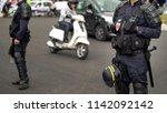 french policemen cordon off...   Shutterstock . vector #1142092142