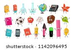 Stock vector cute cartoon school characters collection vector illustration of school objects isolated on white 1142096495