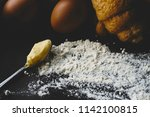 margarine eggs and powder for... | Shutterstock . vector #1142100815