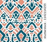 ikat ornament. tribal pattern... | Shutterstock .eps vector #1142114255