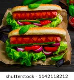 homemade sandwiches sausages in ... | Shutterstock . vector #1142118212