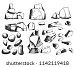stones isolated objects vintage ... | Shutterstock .eps vector #1142119418