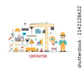 construction icons in flat... | Shutterstock .eps vector #1142128622