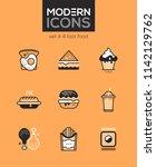 fast food   set of line design... | Shutterstock .eps vector #1142129762
