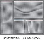 transparent nylon bag with lock ... | Shutterstock .eps vector #1142143928