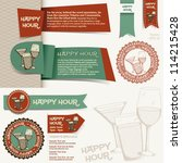 happy hour collection  set of... | Shutterstock .eps vector #114215428