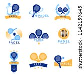 logo padel paddle tennis   set... | Shutterstock .eps vector #1142159645