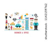 business and office icons in... | Shutterstock .eps vector #1142159762