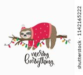 Stock vector merry christmas card with cute sloth hello winter print happy new year card 1142165222