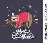 merry christmas card with cute... | Shutterstock .eps vector #1142165225