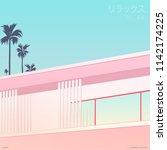 peaceful nostalgic miami motel... | Shutterstock .eps vector #1142174225