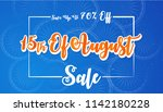 sale poster for 15th of august... | Shutterstock .eps vector #1142180228