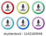 podcast vector icon set.... | Shutterstock .eps vector #1142183048