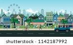 the way people live in cities... | Shutterstock .eps vector #1142187992