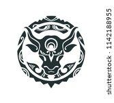 tattoo of a bull in polynesian... | Shutterstock .eps vector #1142188955