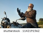 Old Rider Biker Man In Black...