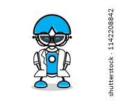 cute robot chat bot vector... | Shutterstock .eps vector #1142208842