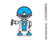 cute robot chat bot vector... | Shutterstock .eps vector #1142208845