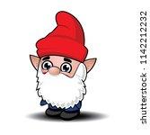 cute cartoon garden gnome.... | Shutterstock .eps vector #1142212232