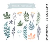 set of handpainted watercolor... | Shutterstock .eps vector #1142213345