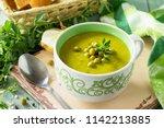 diet menu. puree soup with...   Shutterstock . vector #1142213885