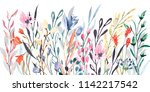 watercolor border  meadow... | Shutterstock . vector #1142217542