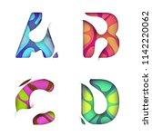 paper cut color letter a b c d... | Shutterstock .eps vector #1142220062