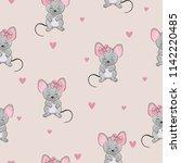 seamless cute mice pattern.... | Shutterstock .eps vector #1142220485
